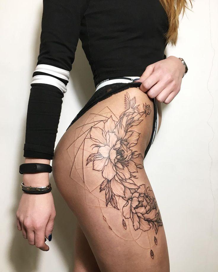 flower leg tattoo on a female